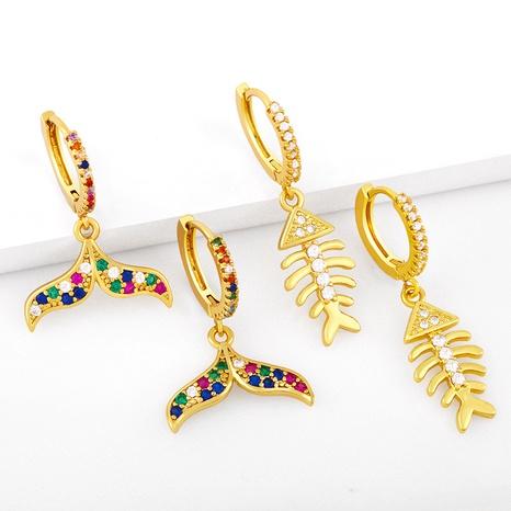 Vente en gros boucles d'oreilles en zircon coloré en cuivre avec queue de sirène Nihaojewelry NHAS396258's discount tags