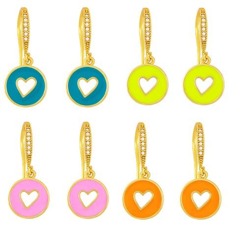 wholesale Boucles d'oreilles en cuivre à coeur creux rond à l'huile de goutte de couleur de la mode Nihaojewelry NHAS396274's discount tags