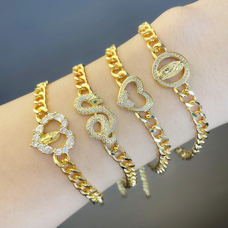 Bracelet en diamant en forme de coeur en forme de serpent chaîne cubaine bijoux en gros Nihaojewelry NHAS396286's discount tags