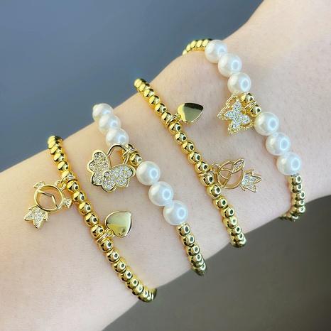 portrait papillon perle ronde perle bracelet élastique en gros bijoux Nihaojewelry NHAS396287's discount tags