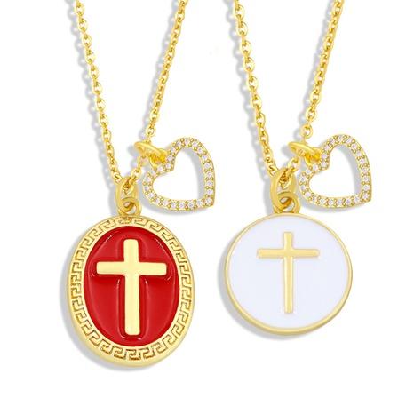 wholesale collier en cuivre double pendentif coeur croisé Nihaojewelry NHAS396290's discount tags
