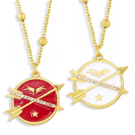 Bijoux en gros Flèche Ailes Pendentif Rond Collier En Cuivre Nihaojewelry NHAS396293's discount tags