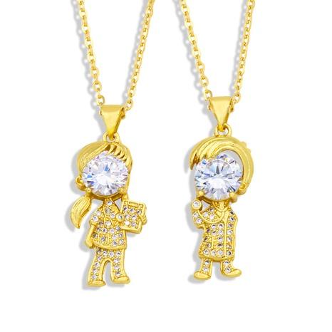 Vente en gros pendentif zircon petit garçon fille collier en cuivre Nihaojewelry NHAS396294's discount tags
