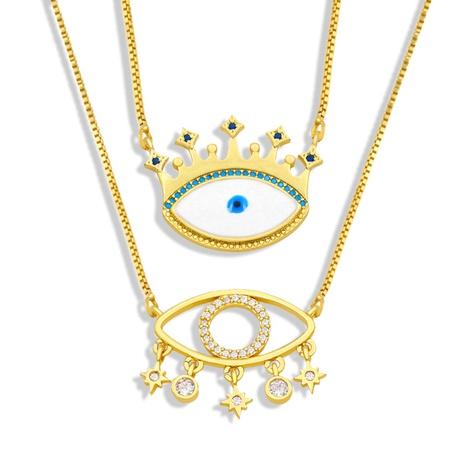 bisutería mayoreo diablo ojo corona colgante cobre con incrustaciones de circón collar nihaojewelry NHAS396301's discount tags