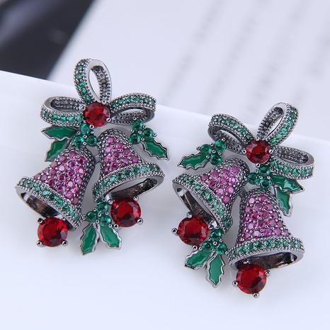 Großhandel Schmuck Weihnachtsglocke Kupfer eingelegte Zirkonohrringe nihaojewelry NHSC396580's discount tags