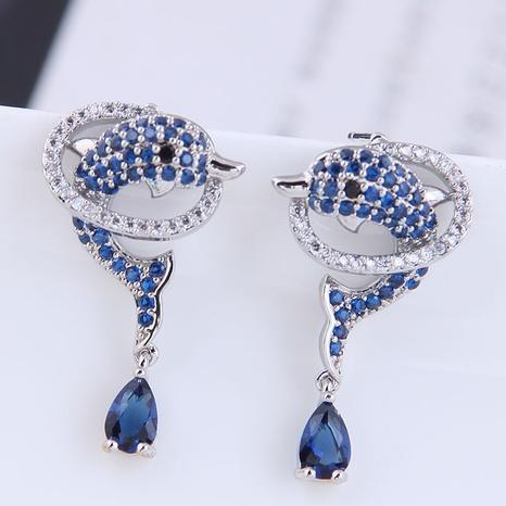 Großhandel Schmuck Delphin Tropfen Kupfer eingelegte Zirkon Ohrringe nihaojewelry NHSC396579's discount tags