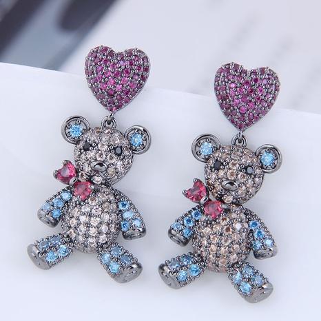 Großhandel Schmuck Herz Bär Kupfer eingelegte Zirkon Ohrringe nihaojewelry NHSC396576's discount tags