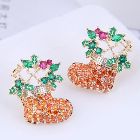 Großhandel Schmuck Weihnachtsstiefel Kupfer eingelegte Zirkonohrringe nihaojewelry NHSC396573's discount tags