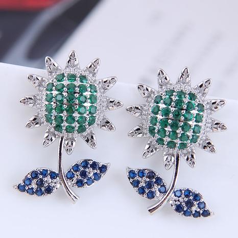 Großhandel Schmuck Sonnenblume Kupfer eingelegte Zirkon Ohrringe nihaojewelry NHSC396572's discount tags