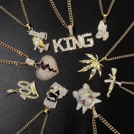 Lettres punk hip hop pendentif en diamant complet collier coeur pour hommes hiphop NHQC396329's discount tags