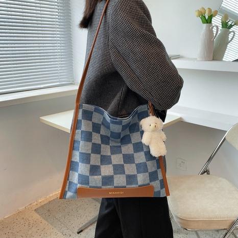 Korean casual plaid denim one-shoulder messenger bag wholesale nihaojewelry NHWH407219's discount tags