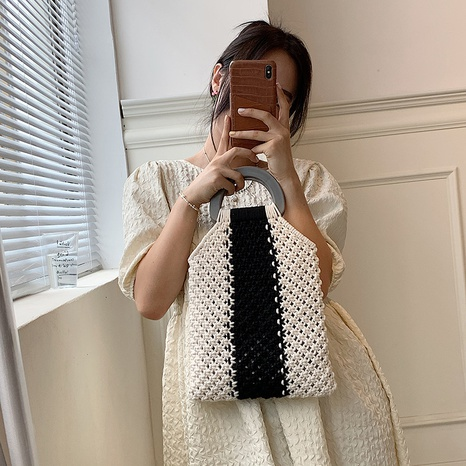 vintage hand-woven contrast color hollow net pocket bag wholesale nihaojewelry NHGN407262's discount tags