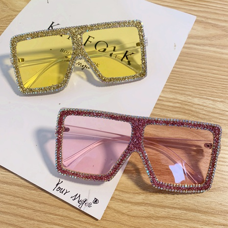 Mode Vintage übergroße Farbe eingelegte Strass Sonnenbrille Großhandel nihaojewelry NHMSG407313's discount tags
