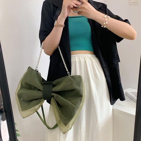 simple bow pearl chain messenger bag wholesale Nihaojewelry  NHAV407514's discount tags