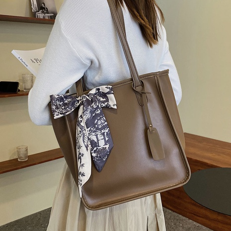 simple casual large capacity silk bow solid color tote shoulder bag wholesale nihaojewelry NHAV407544's discount tags