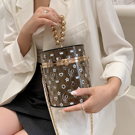 fashion simple pearl chain printing one-shoulder messenger bag wholesale nihaojewelry NHAV407564's discount tags