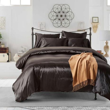 Großhandel Simulation Seide einfarbig gebürstet Kissenbezug Bettbezug Bettwäsche Set nihaojewelry NHBOM407591's discount tags