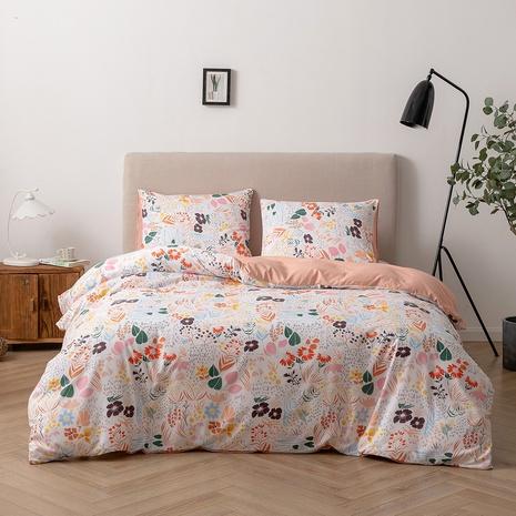 Großhandel Blumendruck gebürsteter Kissenbezug Bettbezug Bettwäsche-Set nihaojewelry NHBOM407592's discount tags
