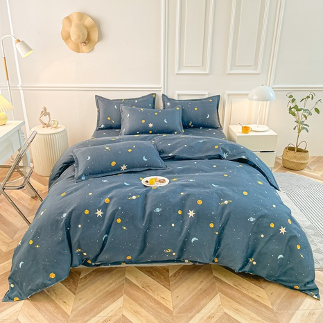 Großhandel Space Star Moon Print gebürsteter Bettbezug Bettwäsche-Set nihaojewelry NHMAR407763's discount tags