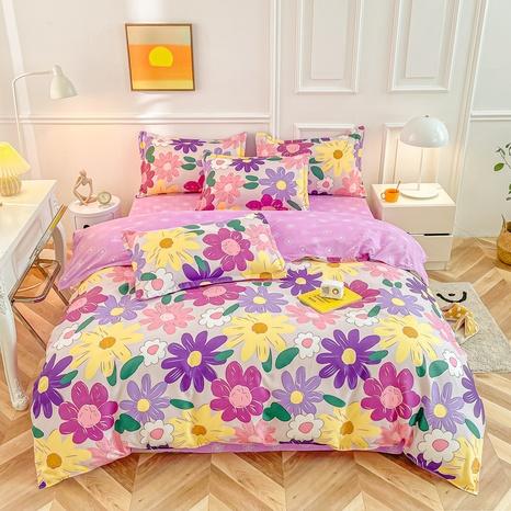 Großhandel bunter Blumenplaiddruck gebürsteter Bettbezug Bettwäsche-Set nihaojewelry NHMAR407756's discount tags