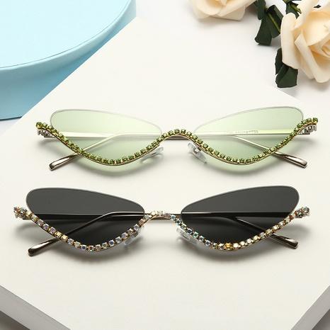 Mode diamantbesetzte Farblinse Metallrahmen unregelmäßige Sonnenbrille Großhandel nihaojewelry NHMSG407321's discount tags