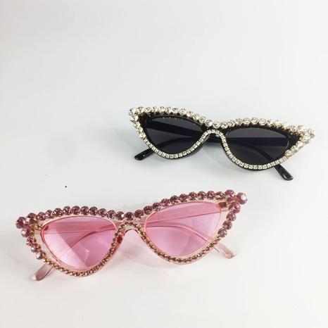 Retro-Mode eingelegte Strass-Katzenaugen-Sonnenbrillen Großhandel nihaojewelry NHMSG407316's discount tags