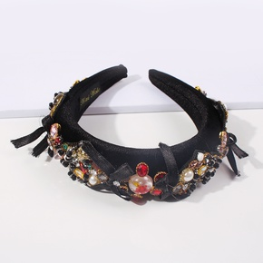 fashion retro diamond wide-brimmed headband wholesale Nihaojewelry  NHMD408710