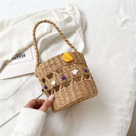 Straw Woven Flower Decor Crossbody Shoulder Bag wholesale Nihaojewelry NHRU407839's discount tags