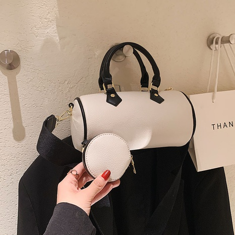 texture contrast color retro messenger shoulder cylindrical bag wholesale Nihaojewelry NHGN407906's discount tags