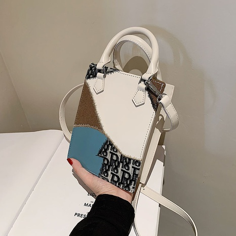 retro stitching printing one-shoulder messenger small square bag wholesale Nihaojewelry NHGN407909's discount tags