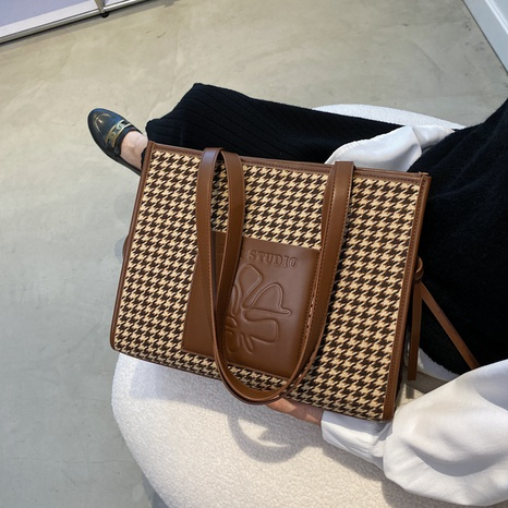 plaid canvas korean style shoulder big tote bag wholesale Nihaojewelry NHGN407915's discount tags