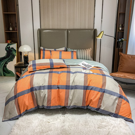 Großhandel Hit Farbe Plaid Print gebürstete Bettbezug Bettwäsche Set nihaojewelry NHMAR408892's discount tags