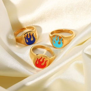 18K vintage fashion red blue flame stainless steel ring wholesale nihaojewelry NHJIE407990