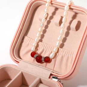 baroque pearl zircon red agate crystal necklace wholesale Nihaojewelry NHJIE408002
