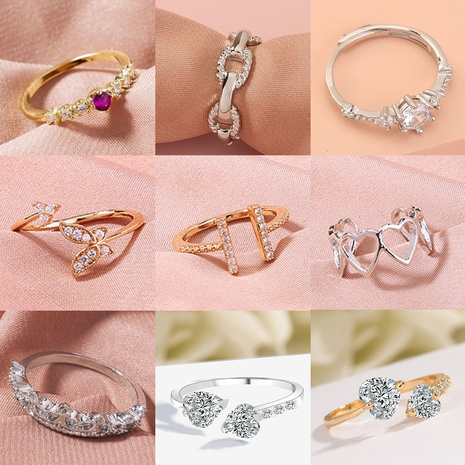 anillo de circón microincrustado de cobre geométrico simple dorado al por mayor nihaojewelry NHDB408179's discount tags