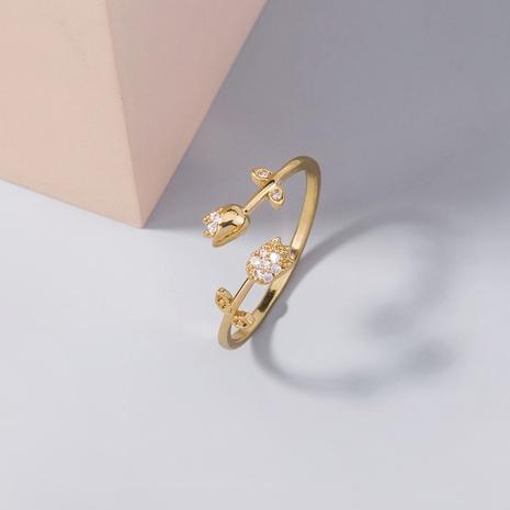 anillo de cobre ajustable de circón en forma de rosa de moda al por mayor nihaojewelry NHDB408200's discount tags