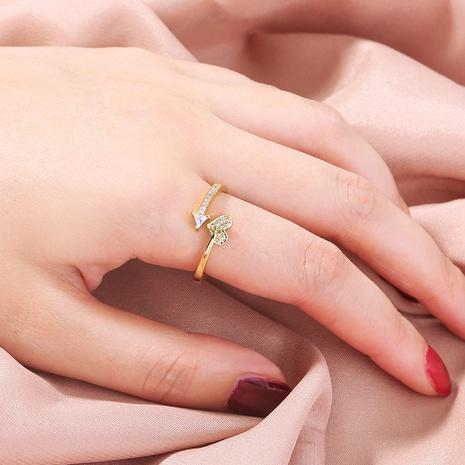 anillo en forma de corazón de triángulo de circón con incrustaciones completas abierto simple al por mayor nihaojewelry NHDB408213's discount tags