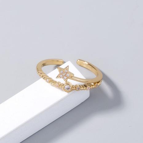 nuevo anillo de cobre de estrella de cinco puntas con incrustaciones micro bohemias al por mayor nihaojewelry NHDB408214's discount tags