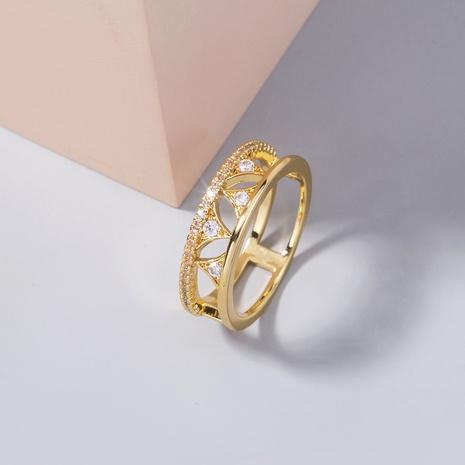 moda triángulo hueco vela micro-incrustaciones circonita anillo de cobre al por mayor nihaojewelry NHDB408215's discount tags