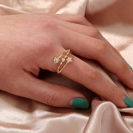 nueva moda corazón simple estrella geométrica con incrustaciones anillo de circón al por mayor nihaojewelry NHDB408218's discount tags