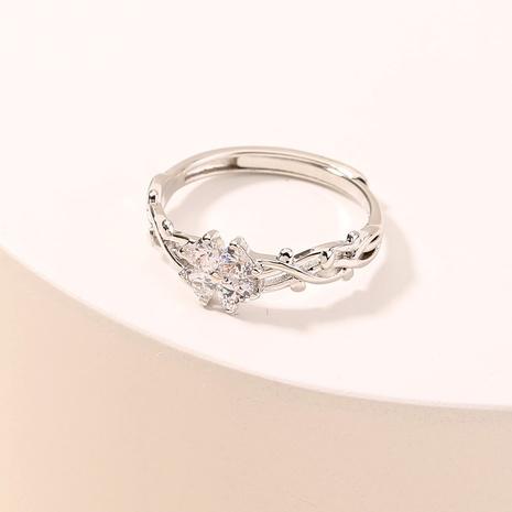 Moda hueco trébol de cuatro hojas con incrustaciones de circonio apertura anillo de cobre ajustable al por mayor nihaojewelry NHDB408221's discount tags