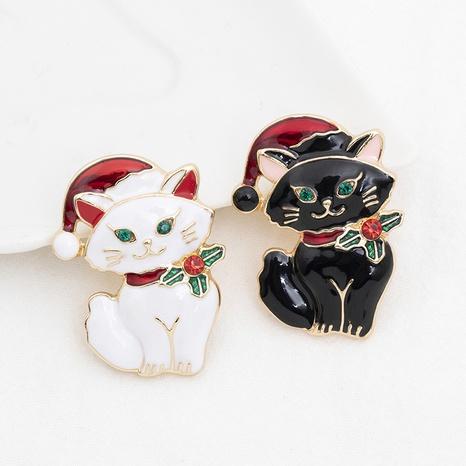 Großhandel Schmuck Weihnachten süße tropfende Ölkatzenbrosche nihaojewelry NHCU408466's discount tags