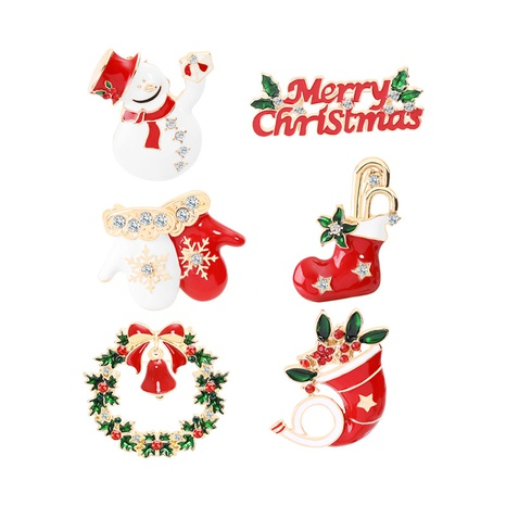 Großhandel Schmuck Weihnachtsbaum Schneemann Krawatte Socken Handschuhe Brosche nihaojewelry NHCU408481's discount tags