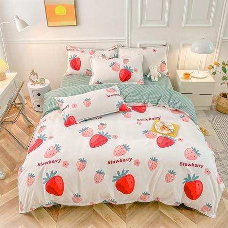 Großhandel Obst Erdbeerdruck gebürstete Bettbezug Bettwäsche-Set nihaojewelry NHMAR408886's discount tags