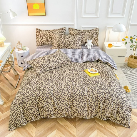 Großhandel Leopardenmuster gebürsteter Bettbezug Bettwäsche-Set nihaojewelry NHMAR408887's discount tags