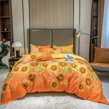 Großhandel Sonnenblumendruck gebürsteter Bettbezug Bettwäsche-Set nihaojewelry NHMAR408888's discount tags