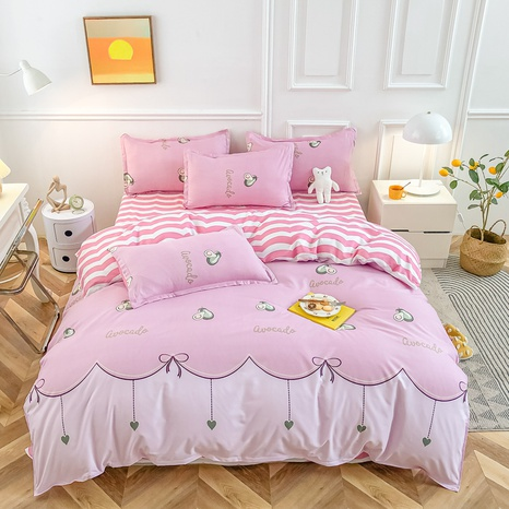 Großhandel Cartoon Avocado Druck gebürstet rosa Bettbezug Bettwäsche-Set nihaojewelry NHMAR408889's discount tags