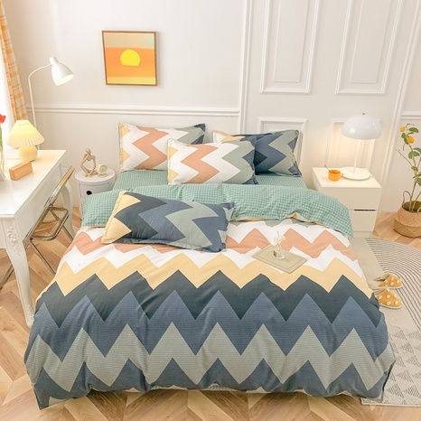 Großhandel Hit Farbe geometrischer Streifendruck gebürsteter Bettbezug Bettwäsche-Set nihaojewelry NHMAR408875's discount tags