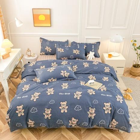 Großhandel Cartoon Bär Cloud Print gebürsteter blauer Bettbezug Bettwäsche-Set nihaojewelry NHMAR408876's discount tags