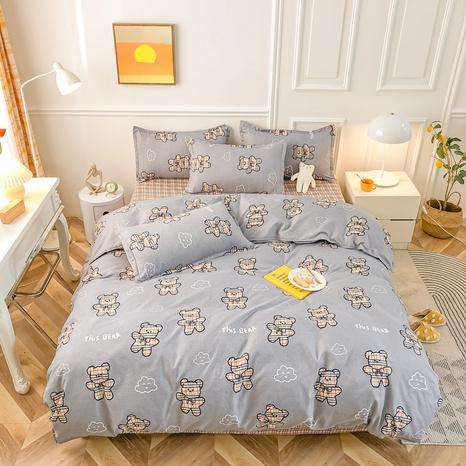 Großhandel Cartoon Bär Cloud Print gebürsteter grauer Bettbezug Bettwäsche-Set nihaojewelry NHMAR408877's discount tags